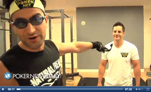 Antonio Esfandiari in the gym