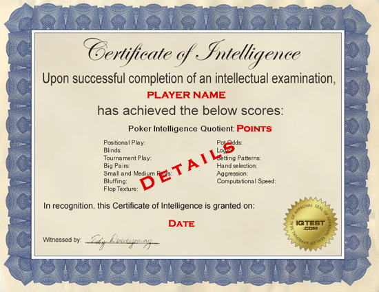 Poker IQ Test - DonkeyTest - Diploma