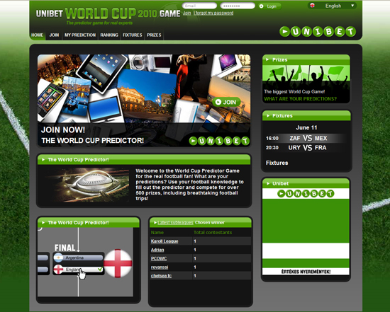 Unibet World Cup 2010 Game